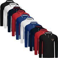 Mens Polo Shirt Long Sleeve Pique T-Shirt Tipping Collar Pocket Horse Sport Top