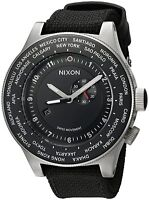 Authentic Nixon Passport Swiss GMT World-Time 49-MM Black Strap Watch A321000-00