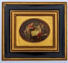 Antique DUTCH Black & Gold Frame OIL PAINTING on BOARD Interior Scene