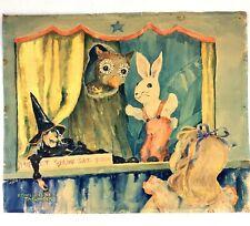 Ethel R Cline Taflinger Original Watercolor Painting Puppet Show Listed Artist