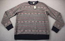 GIASONE Made in Italy Mens Navy Blue FAIRISLE Wool Blend Crewneck Sweater NWT XL