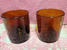 "Artland Iris Brown Double Old Fashioned Glasses 4"" 14 oz Hand Blown Bubble Set 2"