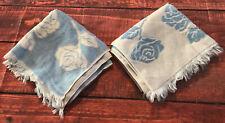 Sears Vtg Babyblau Geformt Rose Blumen Bad Handtuch Set Frottee Tuch Mid Century