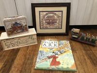 NOAH'S ARK Book & Wooden Toy & Decor - Lot of 5