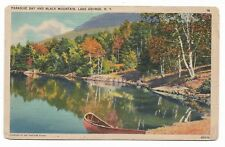 Paradise Bay & Black Mountain Lake George N.Y. 1928 Tichnor Bros Postcard 661A