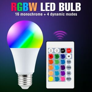 LED RGBW Bulb Light 16 Color Changing E27 Dimmable Lamp With Remote Controller