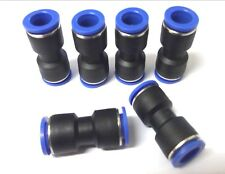 6 x 12mm Straight Push fit connectors. Pneumatic. Joiners. Plumbing Top Quality!