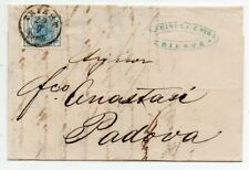 1858 AUSTRIA TO ITALY COVER, LUXURIOUS 9kr STAMP, TRIESTE CANCEL, LOOK