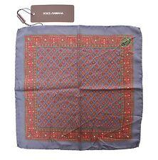 NEW DOLCE & GABBANA Handkerchief Blue Silk Pochette Square Pocket 30cm x 30cm