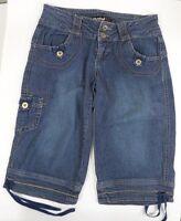"Rewind Women's Denim Capri Jeans, Size 5 Junior , Blue 15"" Inseam Leg Ties"