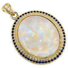 Round Opal Double Halo Pendant with Diamonds & Sapphire's 14kt Yellow Gold 26.29