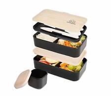 Lunch Box Noir Bambou Bento 2 Compartiments Hermétiques 3 Couverts Pot Sauce