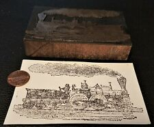Vintage Wood Amp Metal Letter Press Printers Block Ink Stamp Antique Express Train