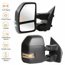 2 Power Heated Led Signal Towing Mirrors w/ Temp Sensor For 15-19 Ford F250 F350