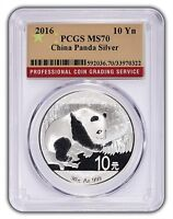 2016 China 10 Yuan Silver Panda PCGS MS70 - Flag Label