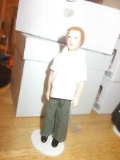 MODERN DARK HAIR MAN IN JEANS AND WHITE SHIRT FOR A DOLLS HOUSE