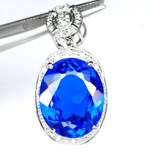 TOPAZ SWISS BLUE OVAL PENDANT 17.30 CT.SAPPHIRE 925 STERLING SILVER GIFT JEWELRY