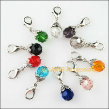6Pcs Tibetan Silver Tone Crystal Mixed Cross Charms Connectors 34.5x50mm