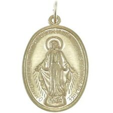 9CT GOLD MIRACULOUS MARY MEDAL PENDANT NECKLACE - MADONNA MEDAL