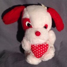 "White & Red ANIMAL TOYS PLUS Puppy Plush with Heart 6.5"" Tall"