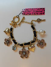 "Betsey Johnson $65 Iconic Spring Bloom Pink  Purple Flower  7 "" Toggle Bracelet"