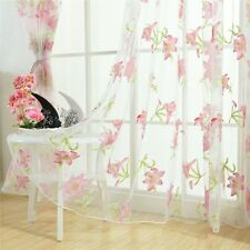 Door Window Sheer Curtain Floral Tulle Voile Drape Panel Scarf Valances Dividers