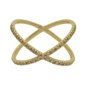Women's Minimalist 18K Yellow Gold Diamonds Intertwining Spheres Ring (Size 9)