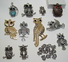 BIG JEWELRY MAKING SUPPLIES LOT~23 ITEMS~OWLS BEADS-PENDANTS-SILVER-GOLD-COPPER