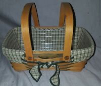 Longaberger 2001 Homestead Woven Memories Basket Green Liner Protector