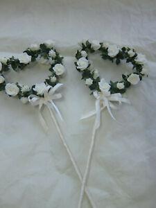 2 Bridesmaids Fairy Wand Heart Rose Ivory Wedding Fancy Dress Flower Girl