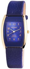 Akzent Damenuhr Blau Gold Analog Metall Kunst-Leder Armbanduhr Quarz X1900043003