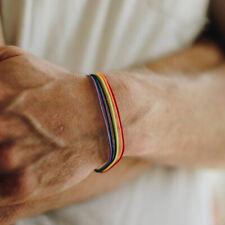 LGBT Gay Pride Lesbian Rainbow Friendship Bracelet Wax Rope Charm Jewelry Peace