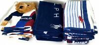 Polo Ralph Lauren Plush Velour Cotton Beach Pool Towel 35x66 Bear Stripes Solid