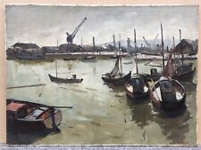 Tableau Huile Paysage Port Mer Bateaux Usine Pier VOLCKAERT Belge (1902-1977)