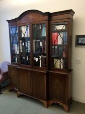 Antique English Mahogany Breakfront China Cabinet Bookcase