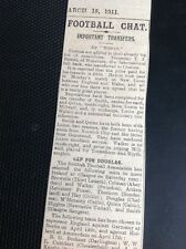 M1-6 ephemera 1911 Article March 15th  Football News Chelsea Sign T J Hewitt