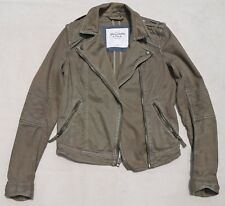Abercrombie and Fitch Women' Motorcycle Jacket Cotton Military Khaki Beige