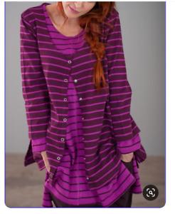 new Gudrun Sjoden sz S Striped eco Cotton Cardigan sweater top
