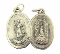 Silver Toned Base Saint Raphael with Our Lady of Loreto Medal, 1 Inch, Set of 2