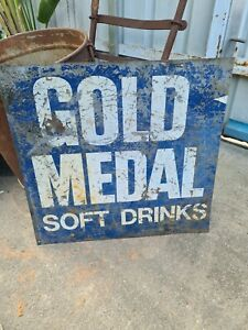 Gold Medal Softdrink Advertising Sign  As Found GOLD MEDAL SOFT DRINKS 54BY53cm