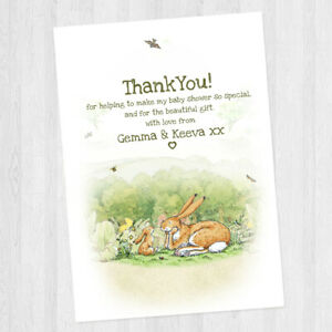 10 PERSONALISED BABY SHOWER / BIRTHDAY GUESS HOW MUCH I LOVE YOU THANK YOU CARDS