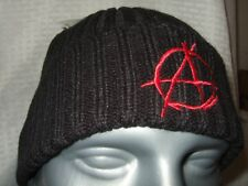 New Adult Black Anarchy Anarchist Red Embroidered Symbol Knit Beanie Cap Ski Hat