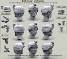 Live Resin 1:35 US Army ACH MICH Helmet Cover PETZL Tactical Headlamp #LRE35021