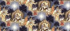 Fat Quarter Blessed Birth Christmas Nativity Scene 100 Cotton Quilting Fabric