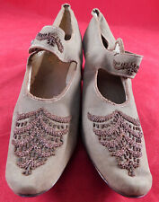 Victorian Vintage F. Loeser & Co. Gray Leather Steel Cut Beaded Mary Jane Shoes