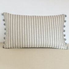 "NEW Kate Forman Charcoal Stripe Linen 20""x12"" Pom Pom or Piped Cushion Cover"