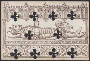 Playing Cards 1 Single Old Antique L'HACHETTE Transformation Card - KNIGHT TOMB