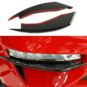 2XCarbon Fiber ABS Front Fog Light Eyebrow Cover Trim Fit For Ford Mustang 18-19