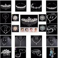 Crystal Crown Tiara Brooch Wedding Bridal Bridesmaid Prom Headband Necklace Set