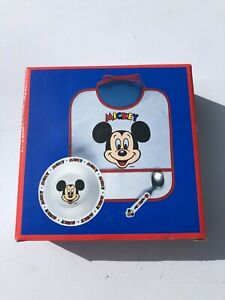 Disney Classic Mickey Bowl Spoon Baby Bib Selandia Presents New